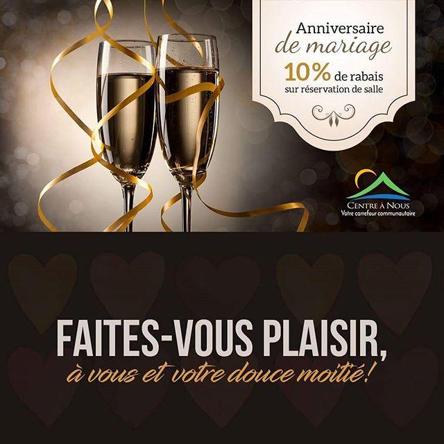 Rien de mieux en cette journée de l'amour que de vous offrir un 10% de rabais sur la réservation d'une salle pour votre anniversaire de mariage, et ce, afin d'en profiter avec votre douce moitié et vos proches! ❤️💘 ** PROMO en vigueur du 14 au 21 février 2017 **