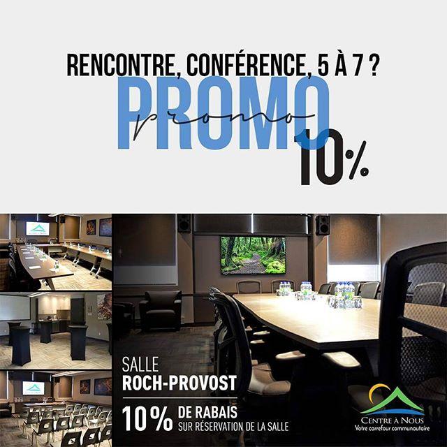10% de rabais du 18 avril au 2 mai sur votre réservation de la salle Roch-Provost ! 📉💭 MENTIONNEZ LE CODE PROMO : RP10