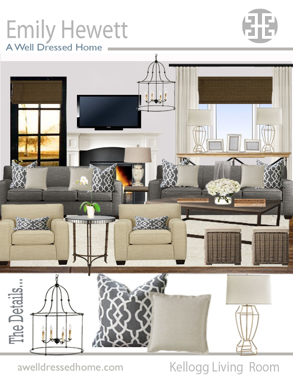 AWDH ODB Kellogg Living Room Online Design Board by AWDH