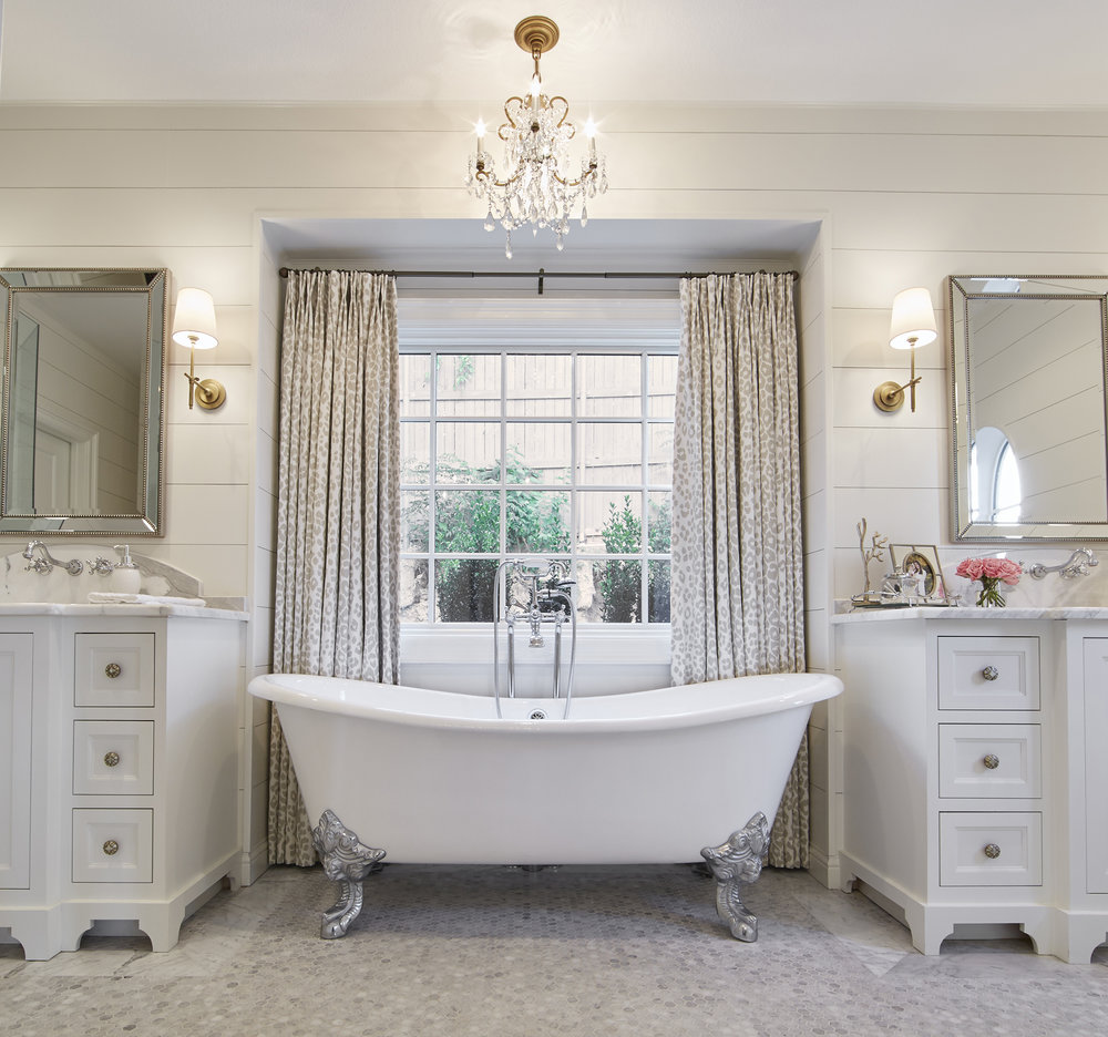 This elegant claw-foot tub helps make the master suite Emily's favorite room of the house.