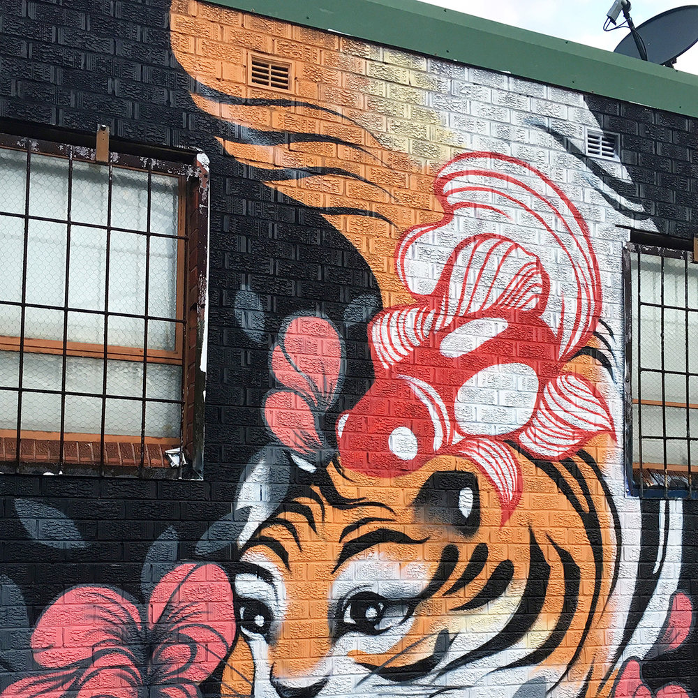 Painting of a giant monkey-tiger in Chapel Lane, Marrickville