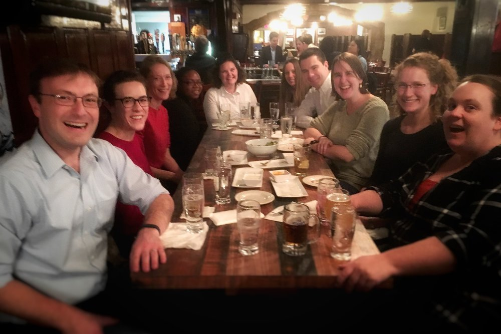 "Photo of graduate students celebrating the 500 anniversary of the Reformation at the Tap Room. Tradition has it Luther said, ""It is better to think of church in the alehouse, than the alehouse in the church."""