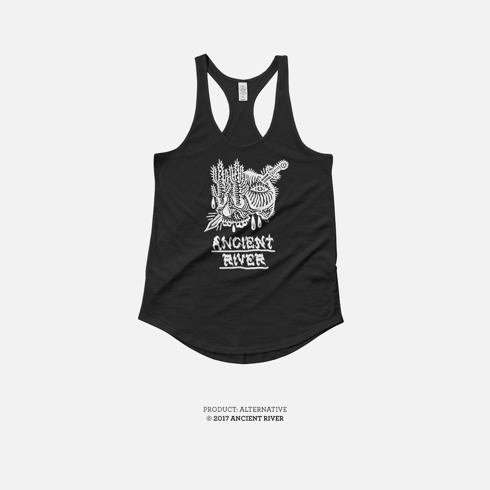 Ancient River Skull + Knife Black tank tees 02.jpg