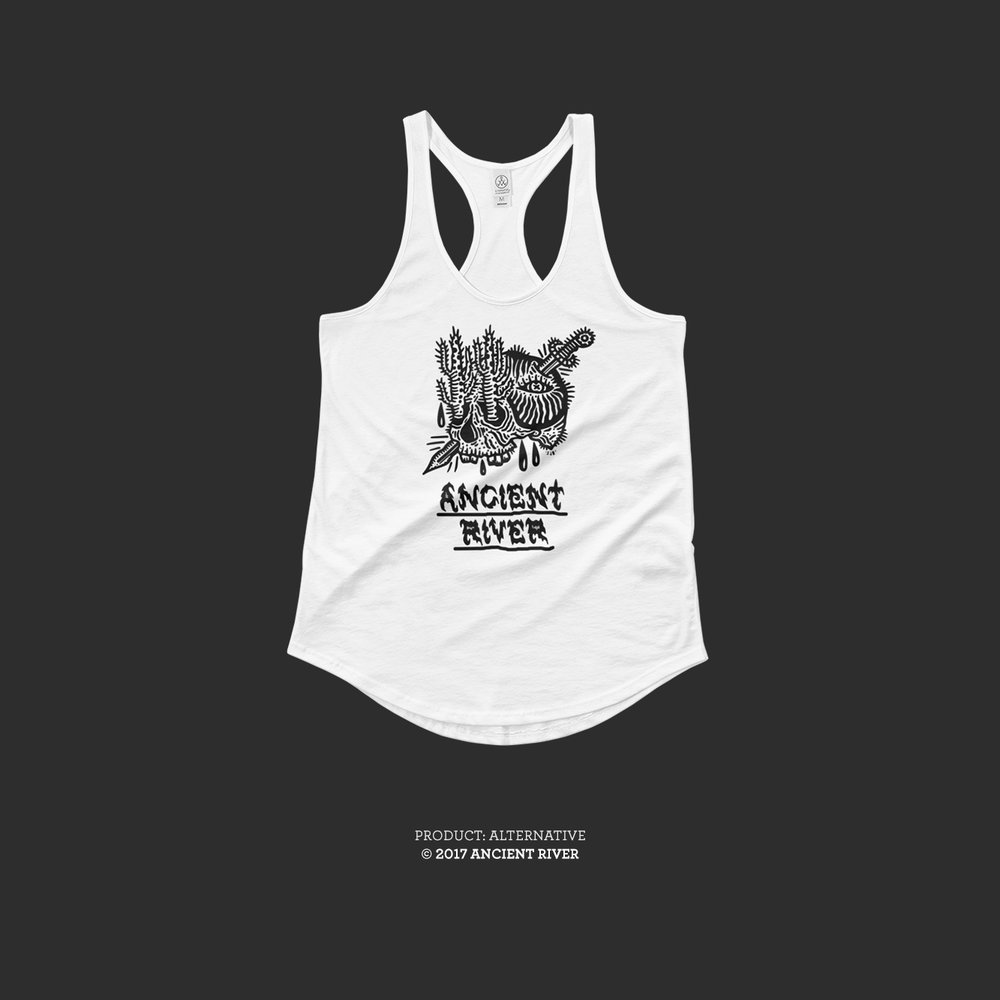 Ancient River Skull + Knife White tank tees 01.jpg