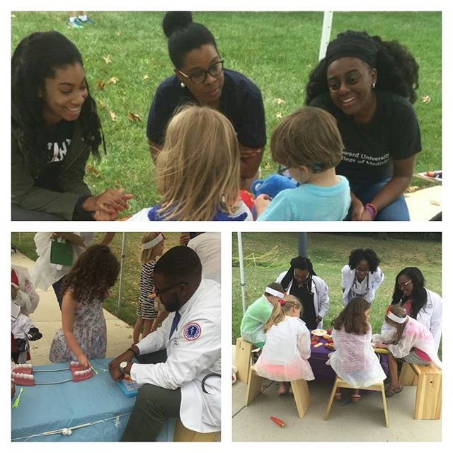 HUCM students giving back and volunteering at the Teddy Bear Clinic. #hucm2020 #medschool #hucm #community