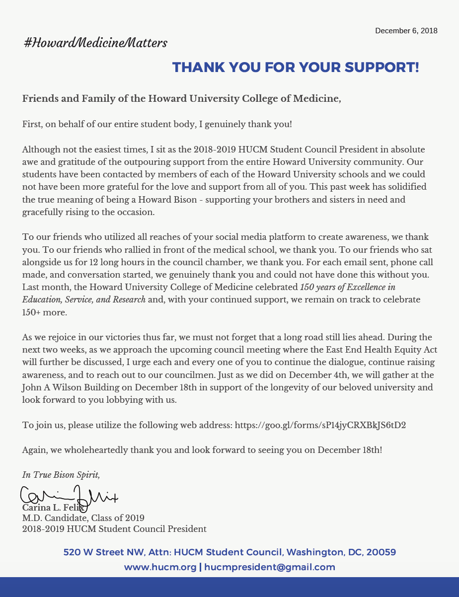 Letter of Gratitude on behalf of the entire HUCM student body. -