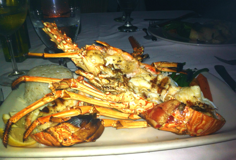 Rock lobster at the Sugar Mill