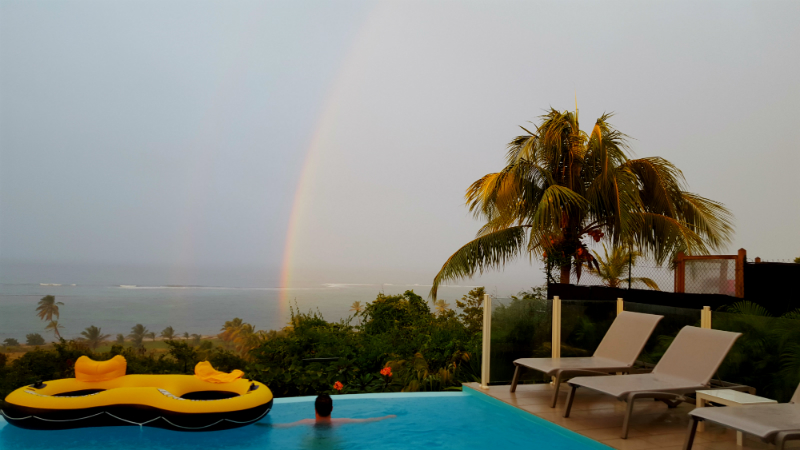 The silver lining of the rain shower....a rainbow!
