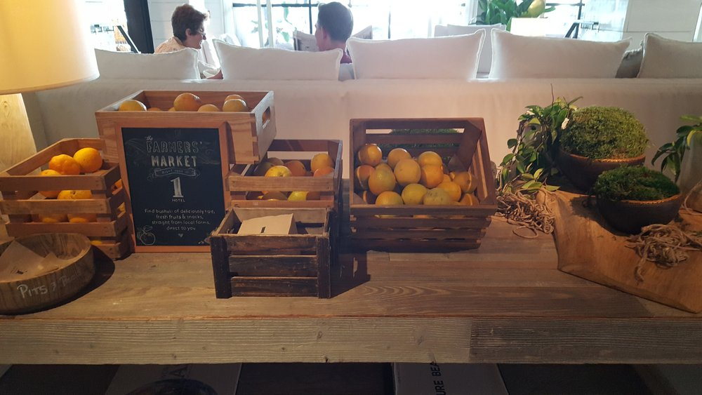 Fresh locally-sourced fruit stand in the lobby each morning