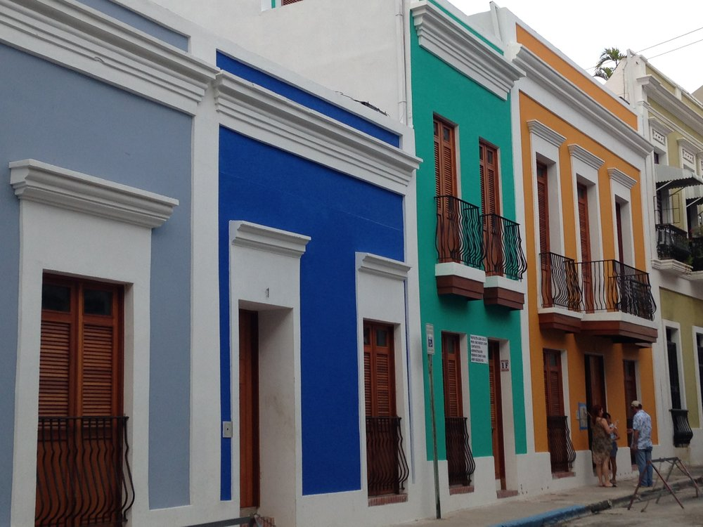 Colorful buildings along Calle Luna in Old San Juan