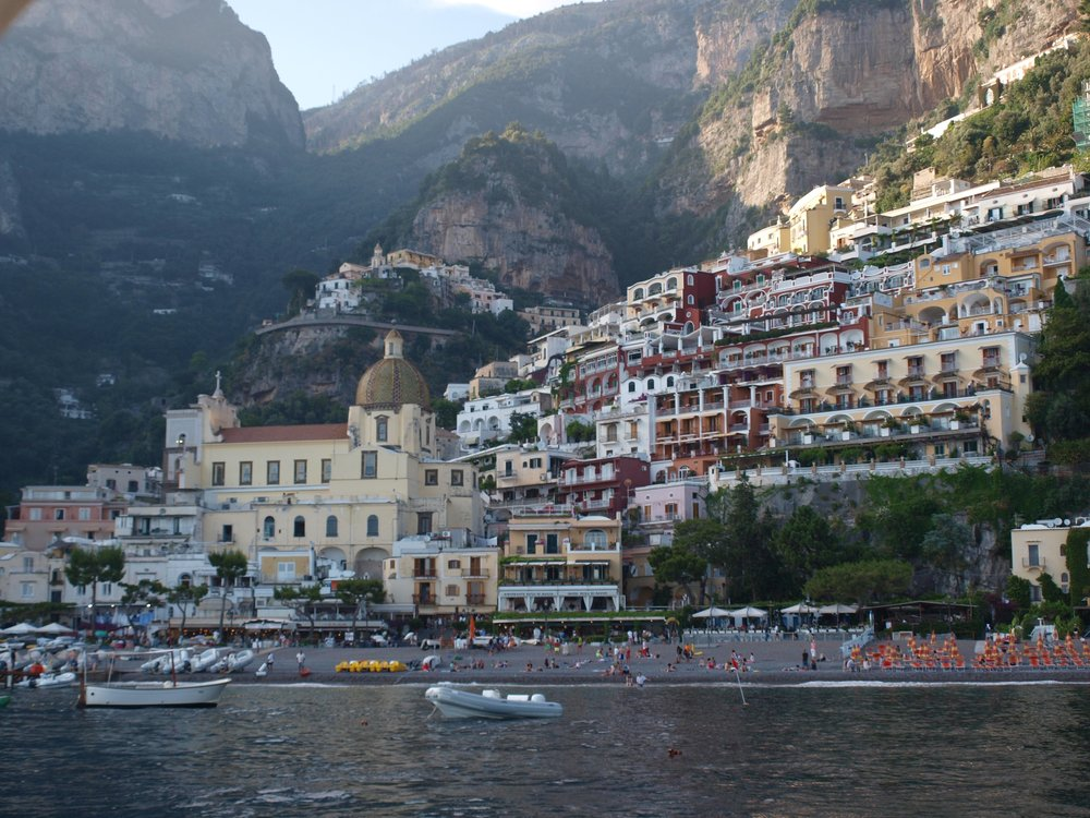 Colorful buildings along the cliffs of Positano