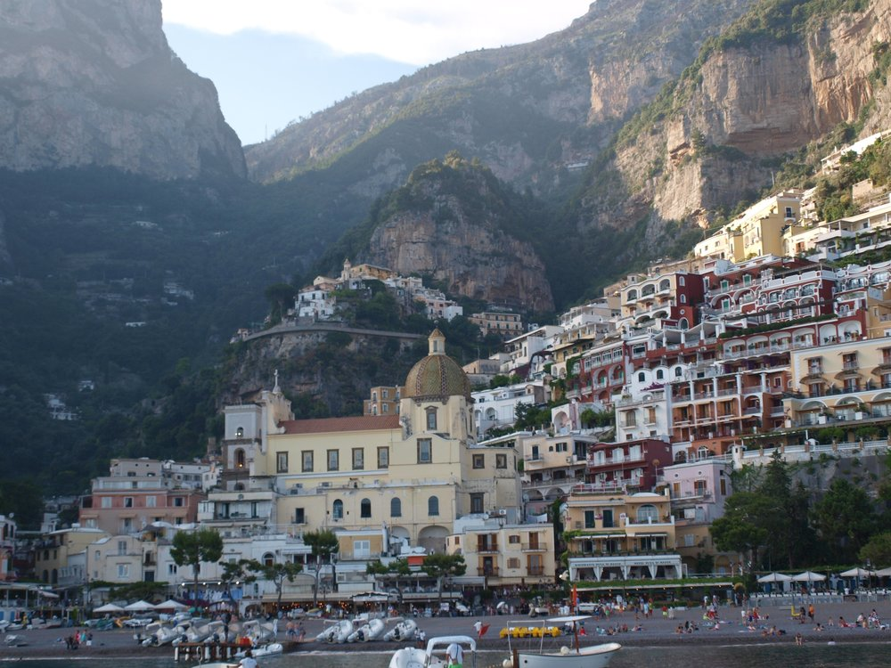 The popular town of Positano as seen from the sea