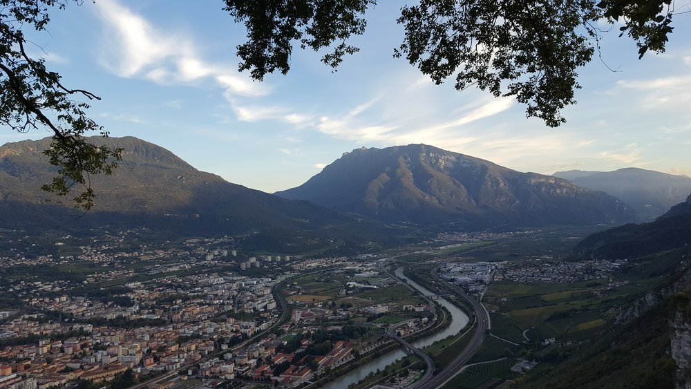 The view of Trento from the top of the funivia ride