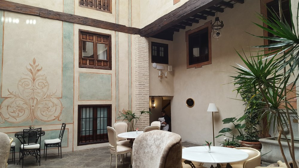 The courtyard/tea room at Hotel Casa 1800 in Granada