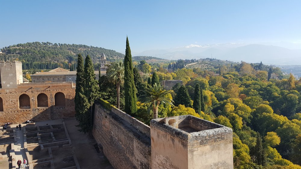 Views of the Sierra Nevadas from the Alhambra in Granada