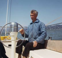 Myron Spaulding at the helm on San Francisco Bay