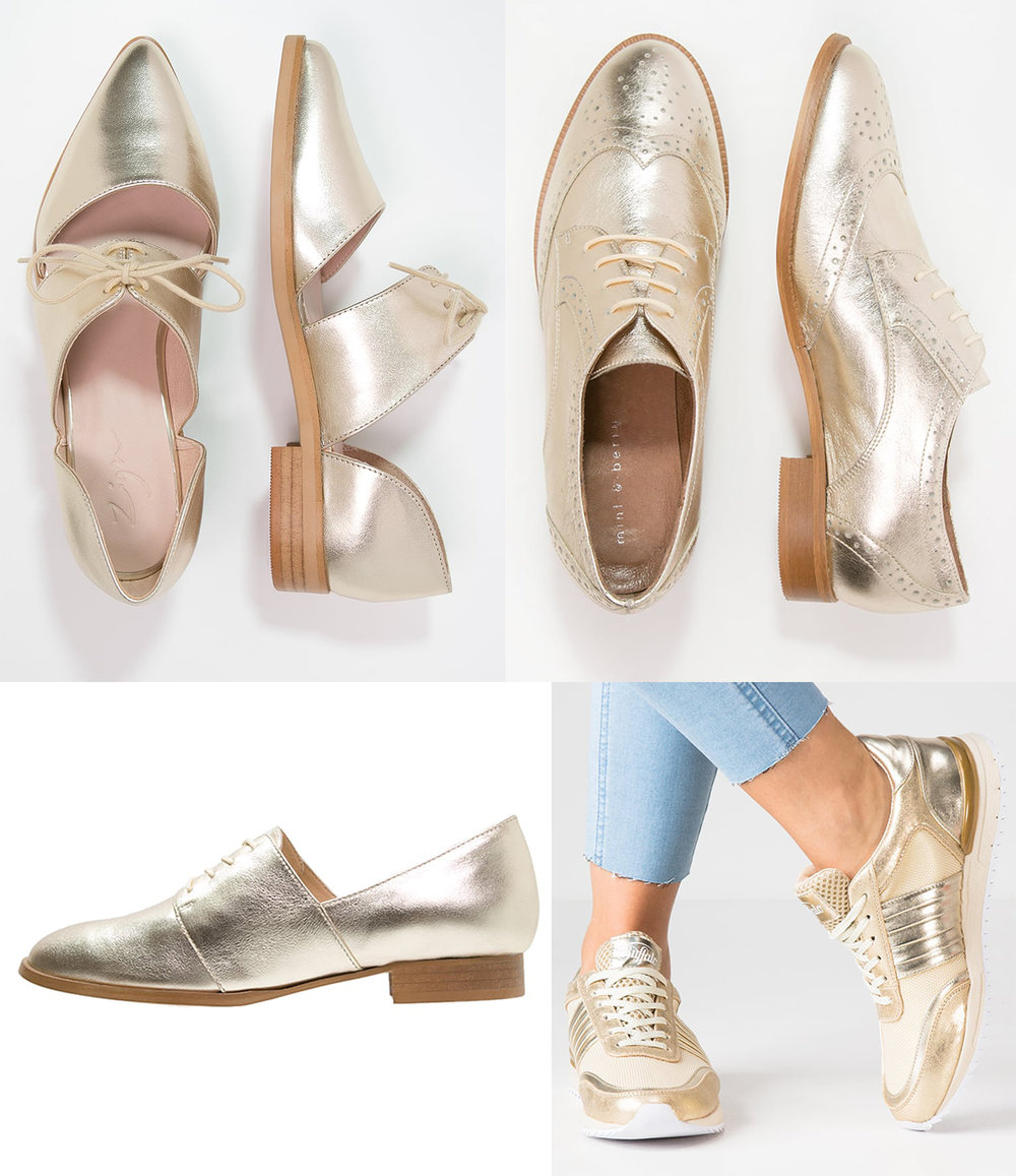 1 -  Zign   open laced shoes . 2 -  Mint & Berry gold brogues . 3 -  Kiomi laced gold shoes . 4 -  Reebok gold sneakers
