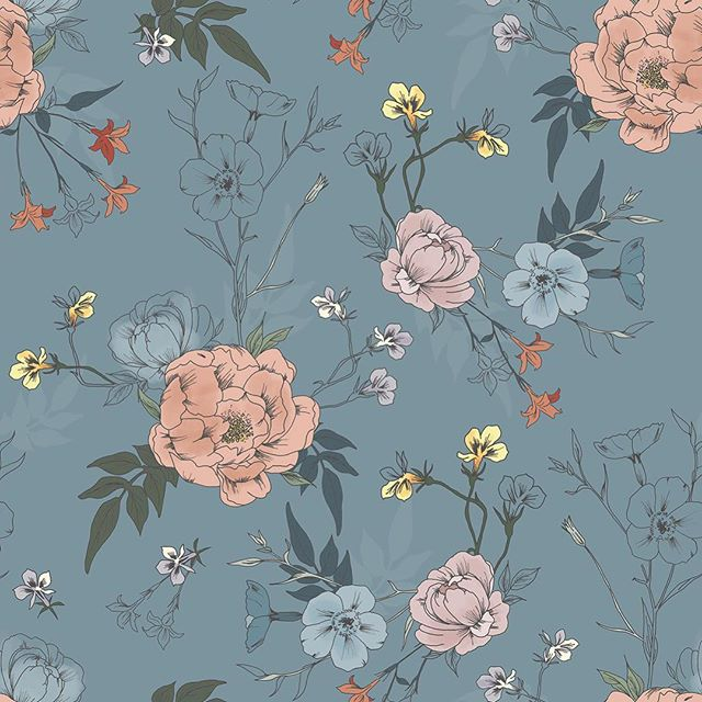 Friday flowers 🌸 . . . . . . . #surfacepattern #patterndesign #patterndesigner #botanicalpattern #illustration #swedishpatternsociety #floralpattern #patternbank