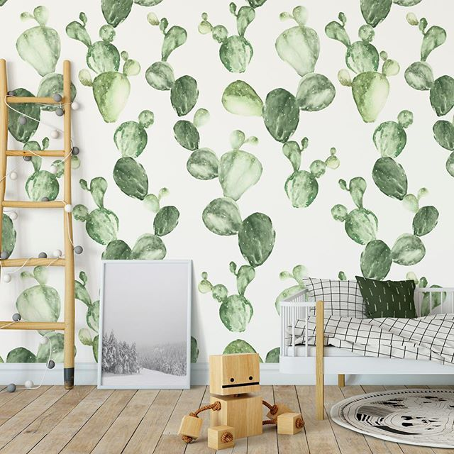It's Wallpaper Wednesday so I tried out my Cactus (cacti?) pattern on wallpaper in a kids room. Painted in watercolour. Would also look nice on fabric, will try that next! 🌵 . . . #surfacepattern #surfacepatterndesign #cacti #cactus #cactuswallpaper #cactuspattern #kidsroom #interior #wallpaper #wallpaperdesign #wallpaperwednesday #swedishpatternsociety #kidsinterior