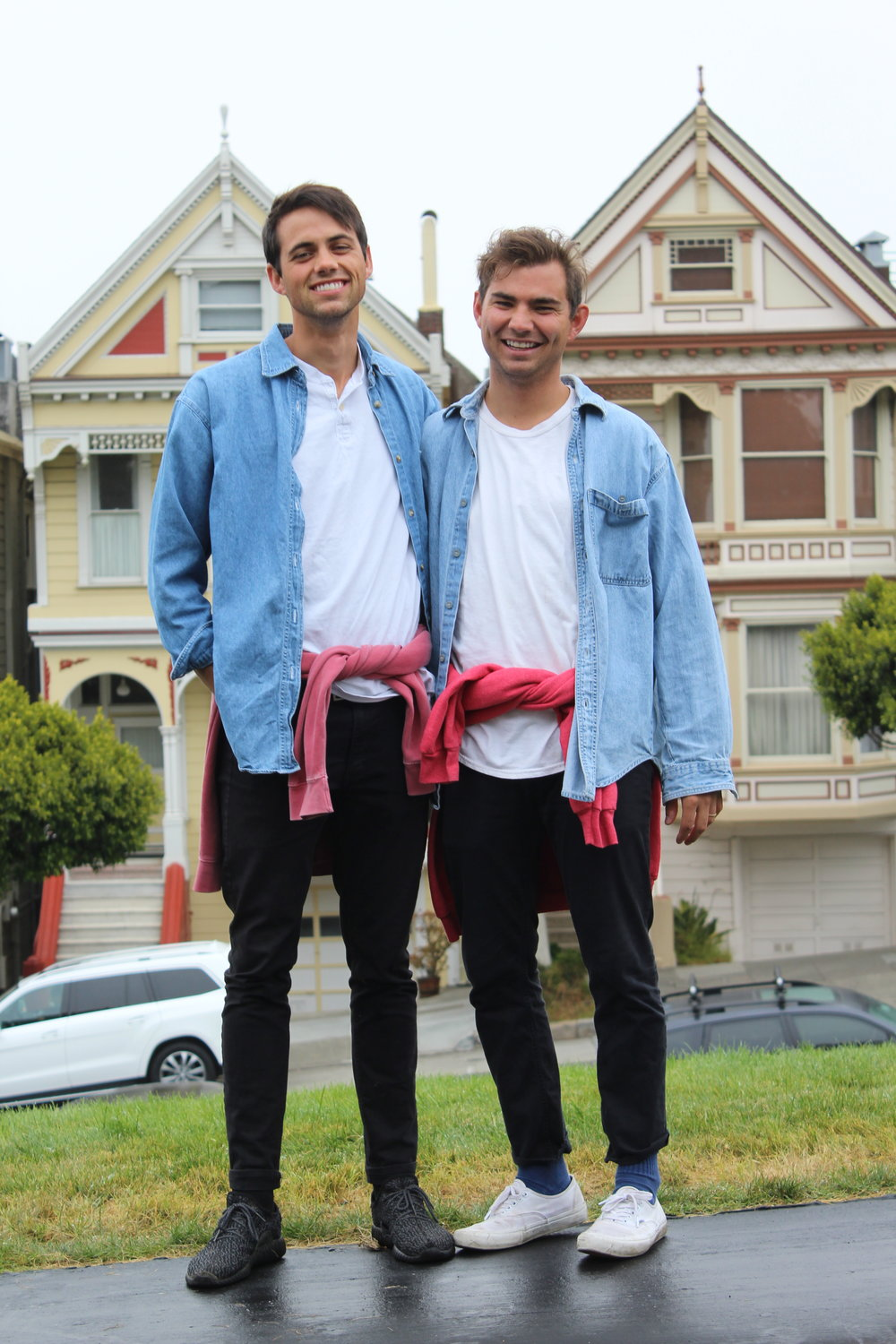 Cousins matching at the Painted Ladies.