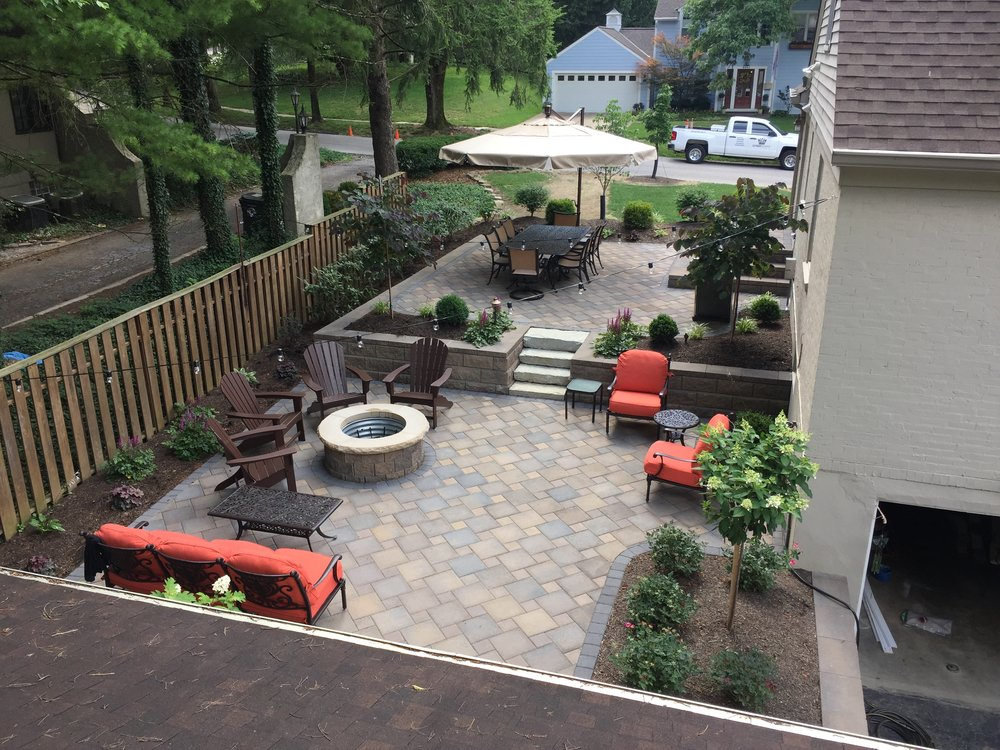 2 tier stone patio and fire pit hardscape