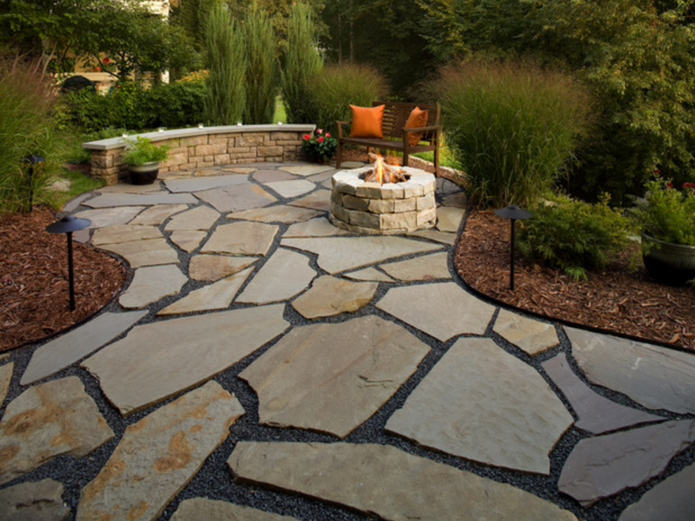 natural stone patio and fire pit