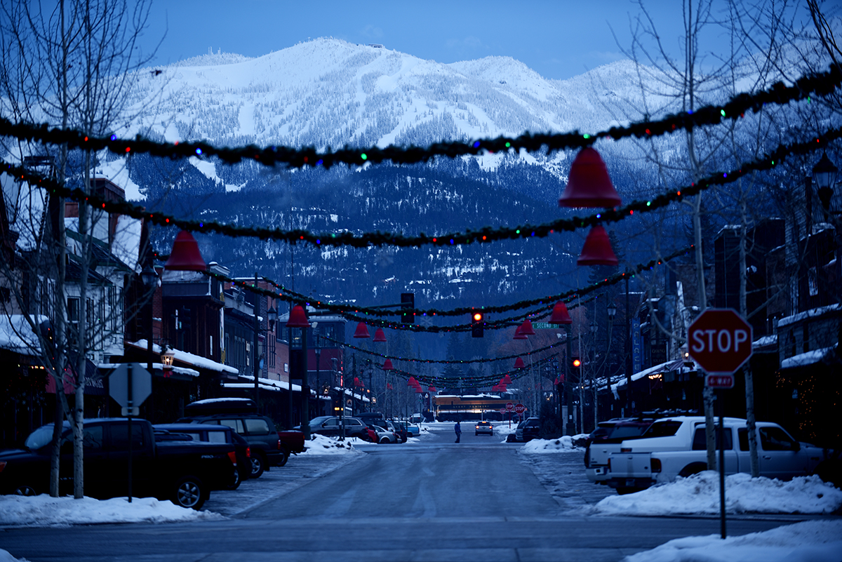 Big Mountain from downtown Whitefish at dawn.