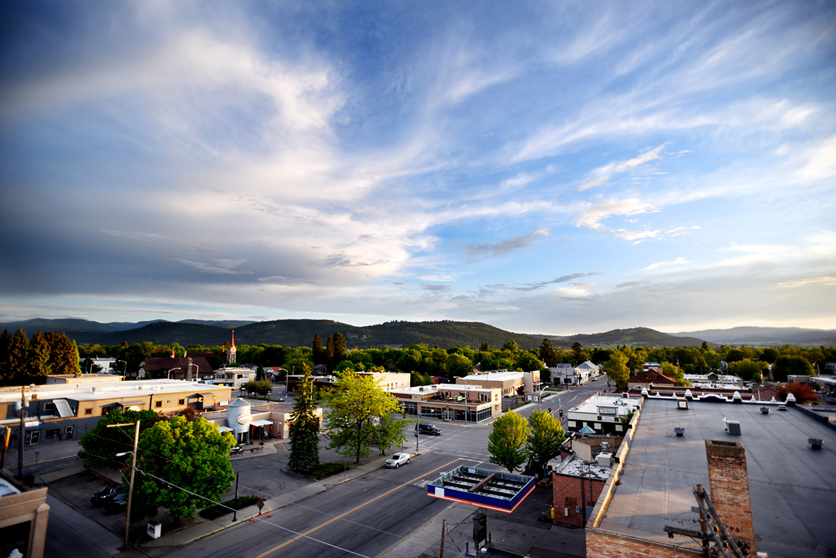 A view of Kalispell at sunset from the forth story tower of the Kalispell Fire Department downtown station on Wednesday, May 27.