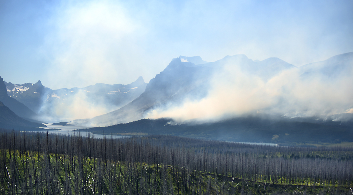 A view of the Reynolds Creek Fire near East Glacier on Wednesday, July 22.