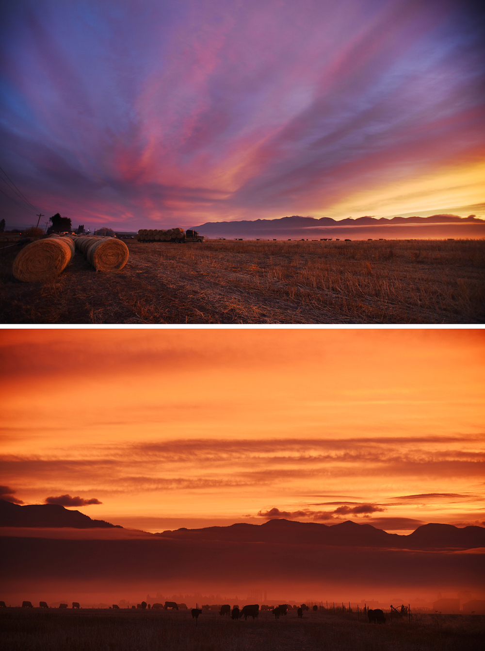 A colorful sunrise lights up the sky from Fairmont and Kinshella Road east of Kalispell on Thursday morning, October 22. I posted both of these photos to the Daily Inter Lake Facebook page and we let the readers pick which one would run in the paper. The top photo was the hands-down winner.