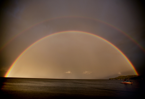 Double Rainbow over Flathead Lake