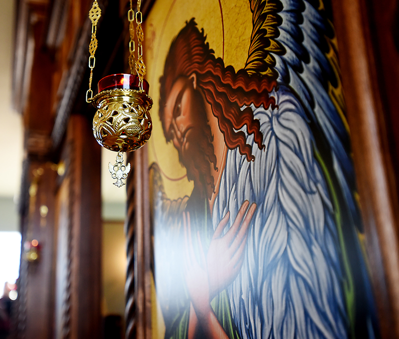 A detail of one of the icons in the newly constructed iconostasis. This large wooden screen was built by Joshua Hicks of Polson and incorporates some distinctively American features. (Brenda Ahearn/Daily Inter Lake)