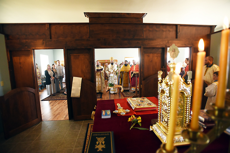 A photograph from behind the iconostasis by acolyte of the church Walter Keathley. Keathley, who is not a member of clergy, received a special blessing to go behind the iconostasis and capture this photograph. (Brenda Ahearn/Daily Inter Lake)