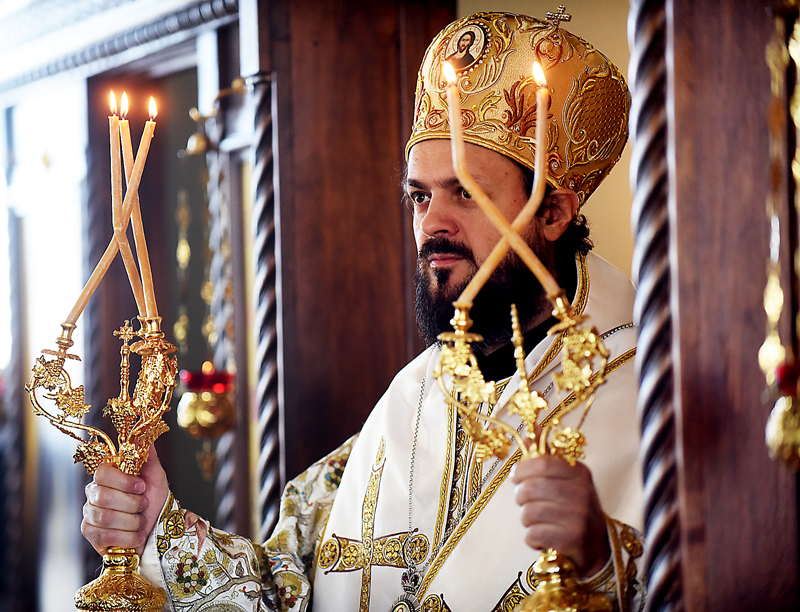 Bishop Maxim, head of theÊSerbian Orthodox diocese of Western America, one of the geographically largest diocese in America, takes part in the blessing of the new temple of Saint Herman Orthodox Church in Kalispell on Sunday, July 19.