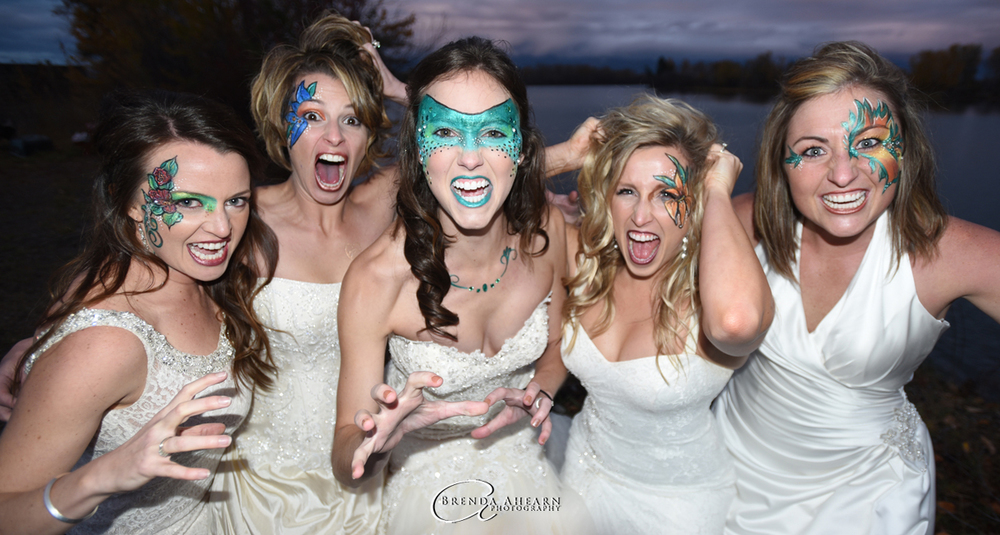 "From left, Katie Pfennigs, Teryn Waldenberg, Lauren Stoll, Mandy Pokorny, and Nicole Buckallew, pose as ""bridezillas"" for the monsters edition of This Week in the Flathead. Their make-up was done by Kathleen Francis of Fancy Face Design. (Brenda Ahearn/Daily Inter Lake)"