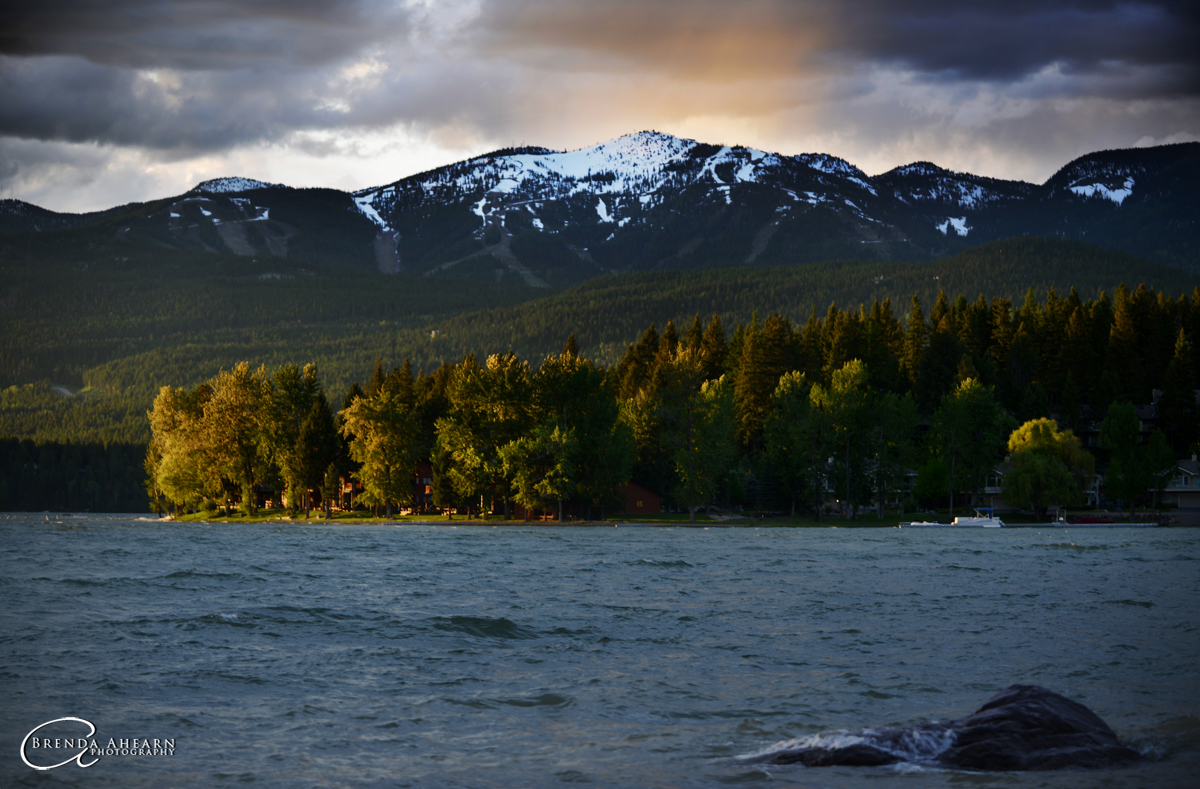 Sunset at Whitefish Lake with a view of Big Mountain.
