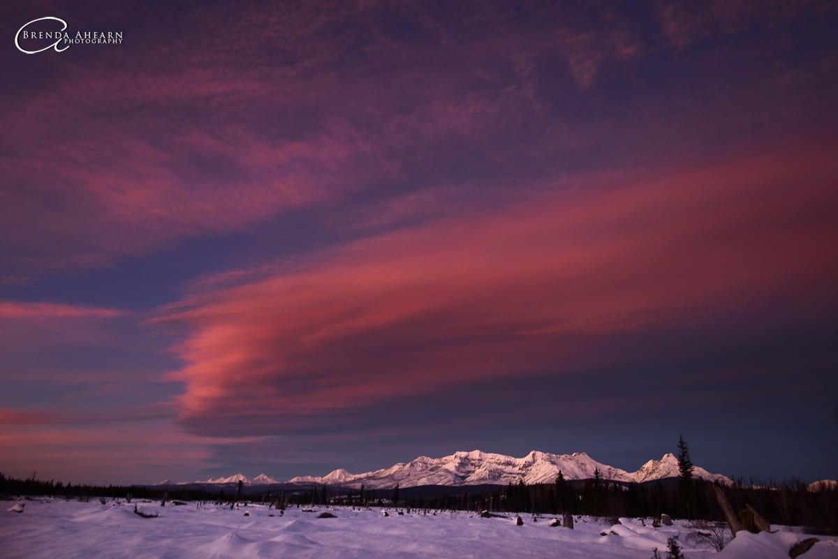 Winter sunset near Polebridge, Montana.