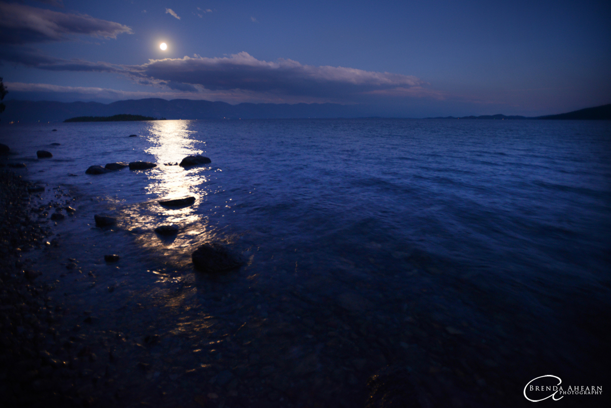 Super moon over Flathead Lake, from Rollins, Montana.