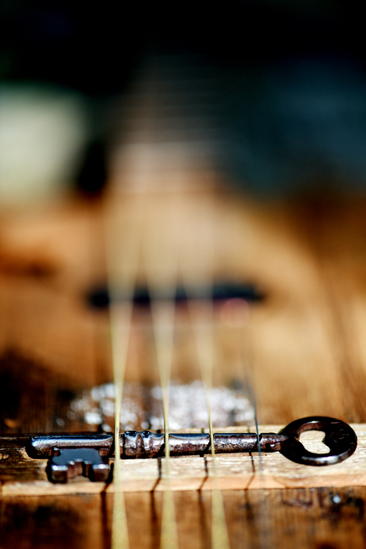 Detail of the unique guitar Kevin Van Dort frequently plays.