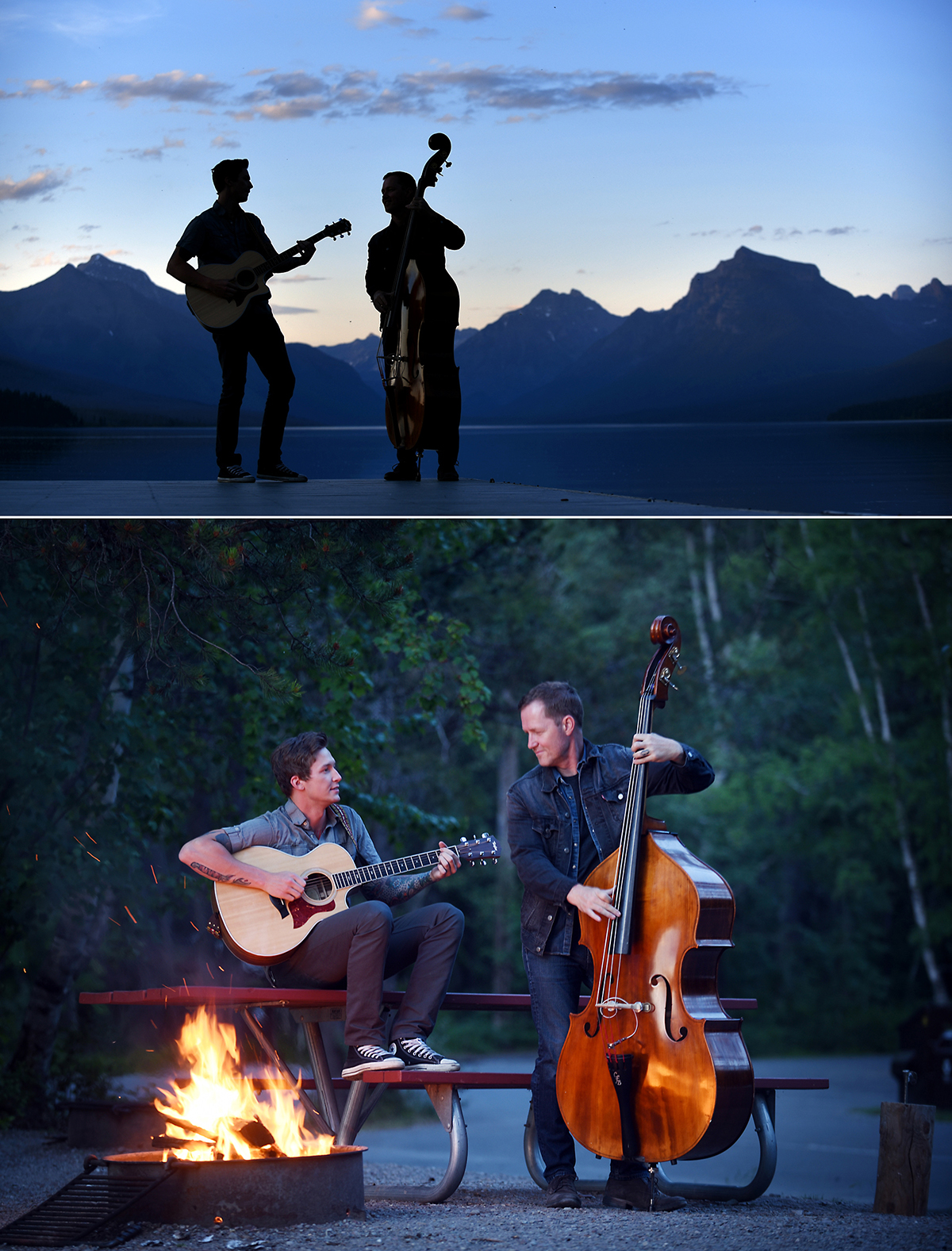 CJ Krager and his father Chris make music during a portrait session in Glacier National Park on Tuesday, June 16. CJ is a member of the Copper Mountain Band and Chris collaborates with a number of local musicians, but is most frequently seen with the Left Ready and with Mike Murray in the Mike Murray Duo. (Brenda Ahearn/Daily Inter Lake)
