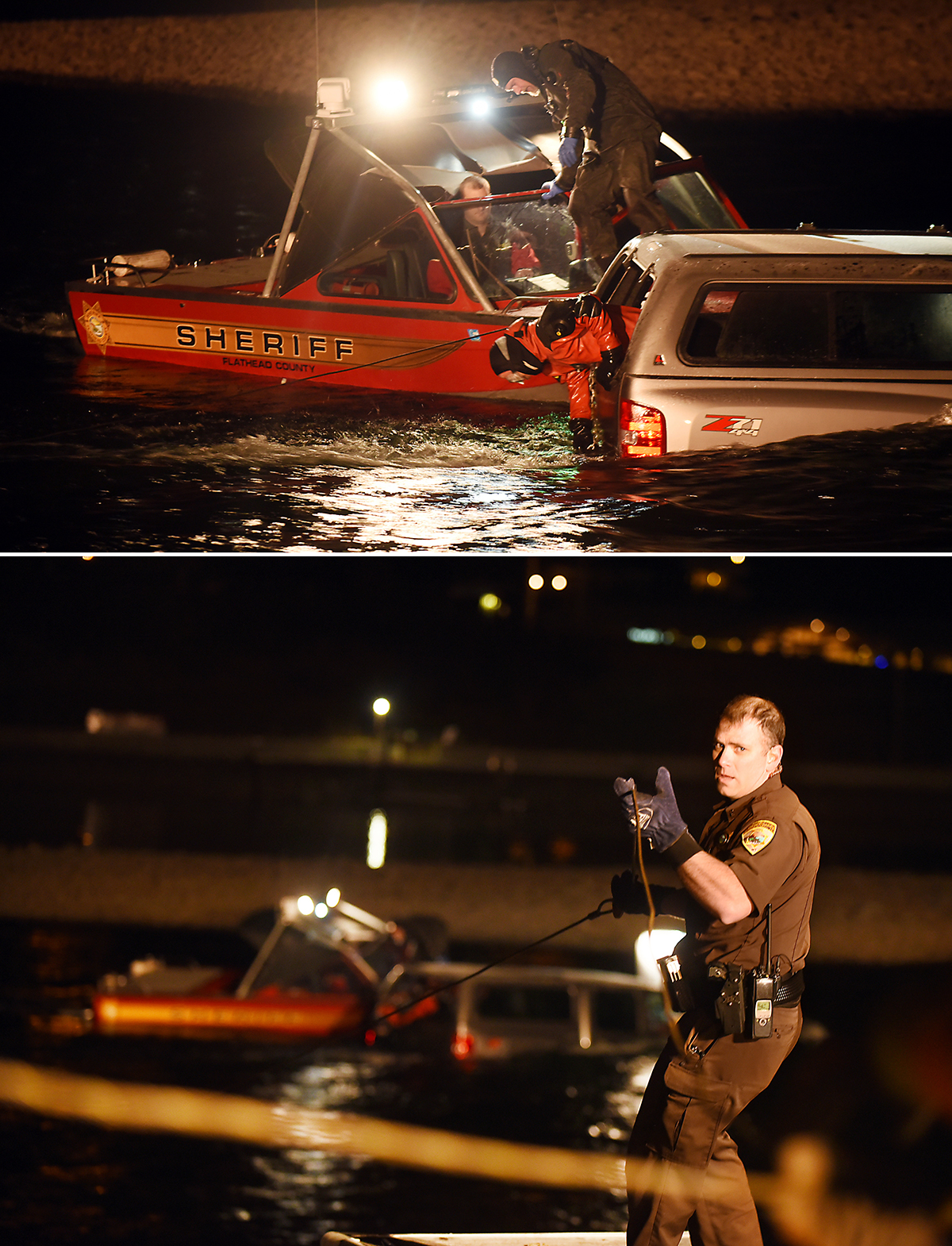 These two images started with a text from a Deputy that read: Truck in water in Bigfork. I never mind getting woken up at 2 a.m. when I get photos like this out of it.