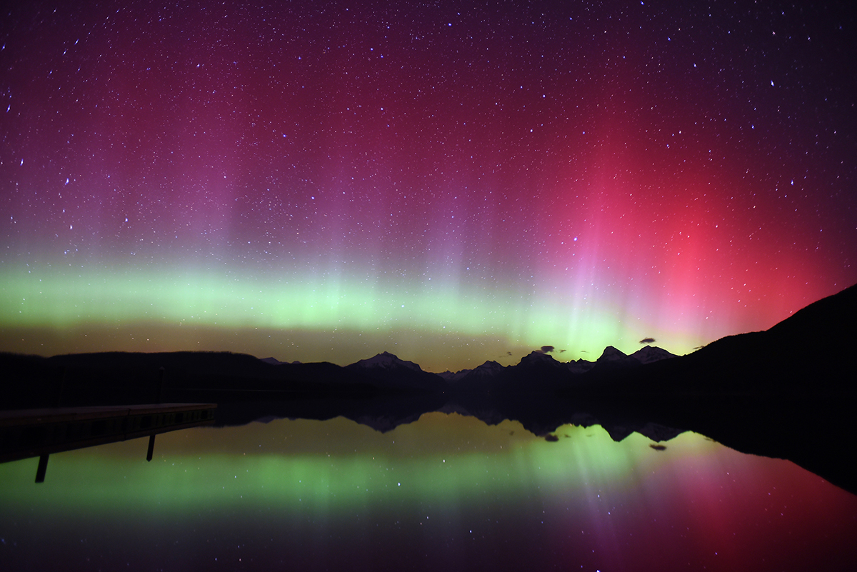 A view of the Northern Lights over Lake McDonald at 11:56 p.m. on Thursday, April 9, in Glacier National Park. (Brenda Ahearn/Daily Inter Lake)