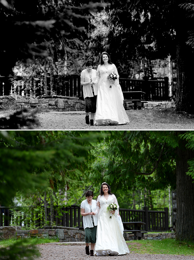 mother of the bride and bride at Lake McDonald