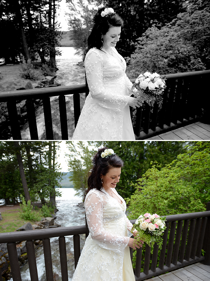 Lake McDonald Lodge wedding day, bride and bouquet