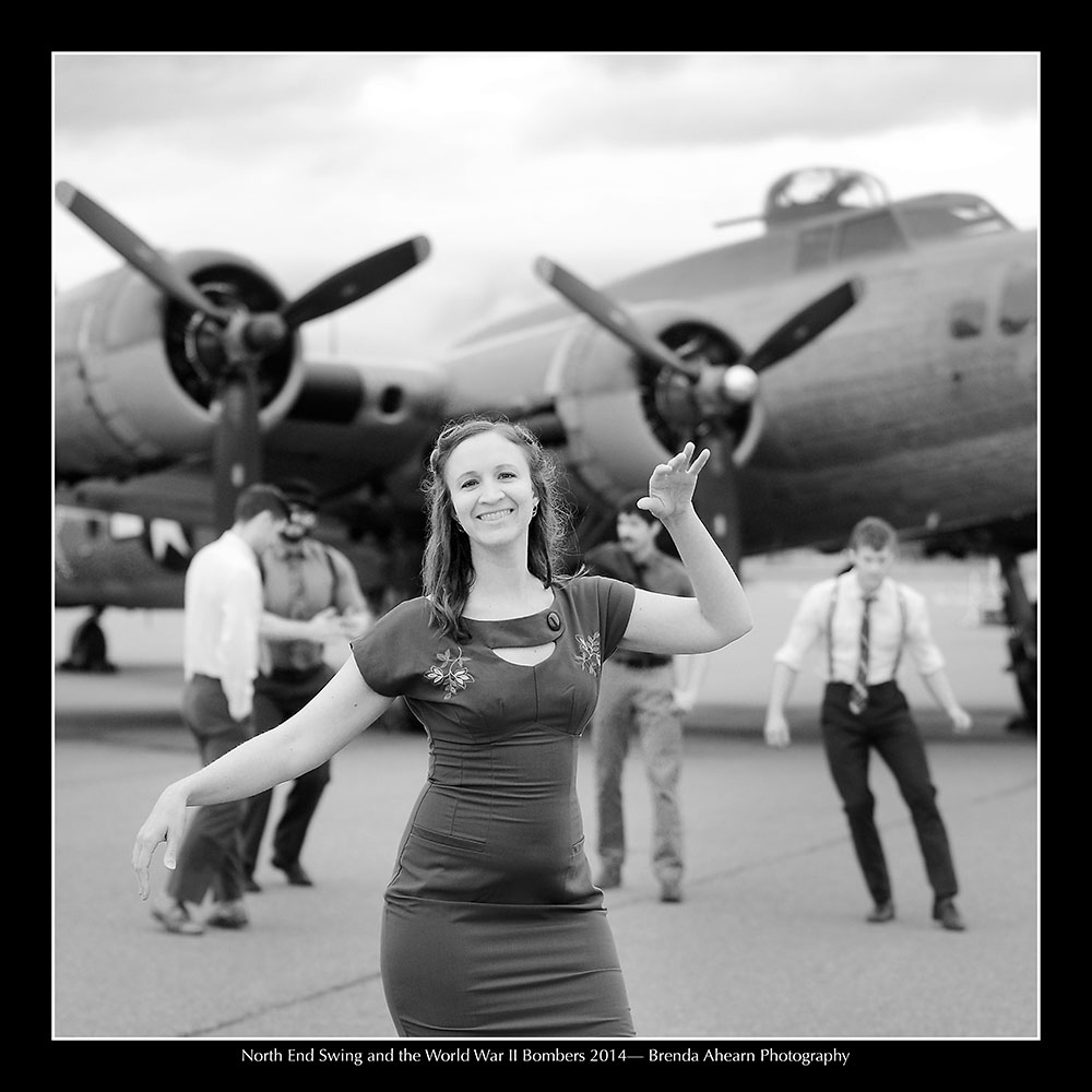 Swing dancers and World War II bombers