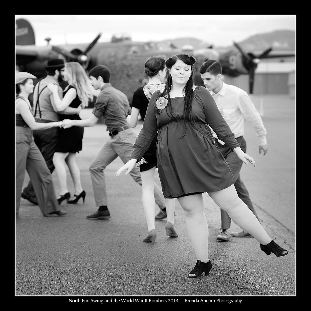 Swing dancers and World War II bombers