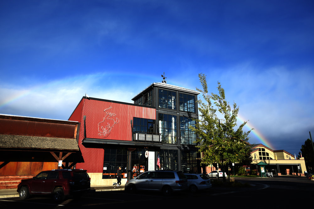 Rainbow over the Great Northern Brewing Company in downtown Whitefish, Montana.