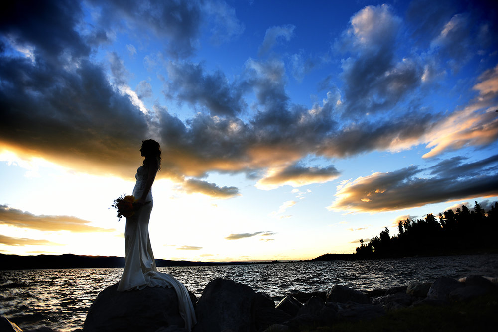 Bridal portrait sunset on Flathead Lake