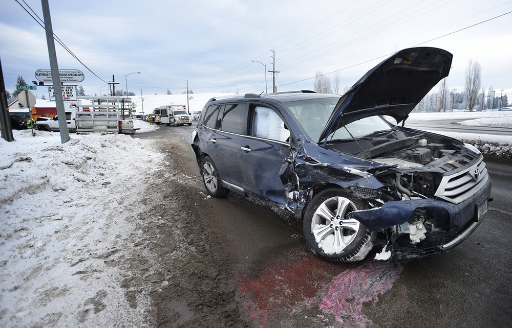 A two vehicle crash resulted in a response from Evergreen Fire and Rescue, Flathead County Sheriff's Office and Montana Highway Patrol as the two vehicles blocked one lane of US 2 westbound on Tuesday afternoon, January 17.