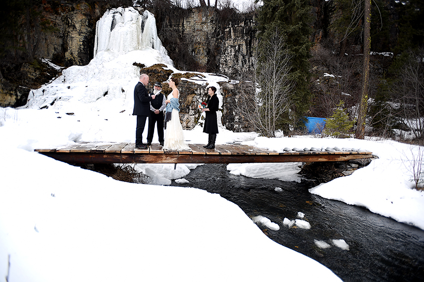 The waterfall was just starting to thaw. They had their wedding ceremony set to the sound of the rushing water in the background. It was gorgeous.